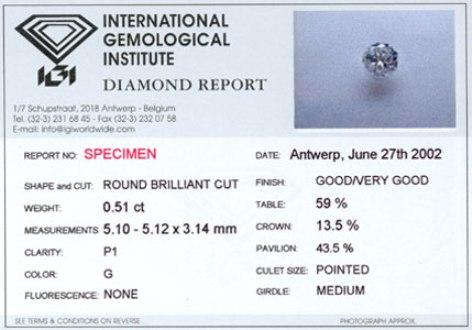 Diamond Card by the IGI