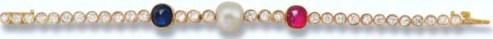 Diamond, Pearl and Gem-set Bracelet