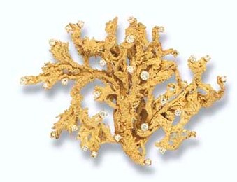 Diamond-set Lichen Brooch