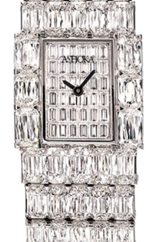 Ashoka diamond watch in platinum