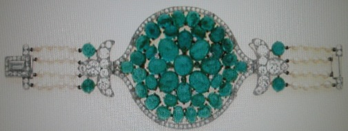 Cabochon emerald, pearl and diamond bracelet.