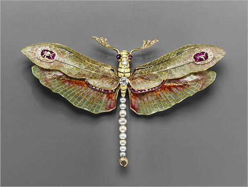 Art Nouveau dragon fly pearl brooch with rubies and diamonds