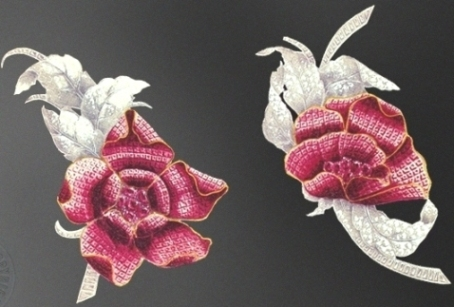 Drawing of opening and closing pivoine clips from the archives of Vancleef & Arpels