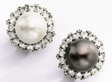 Duchess of Windsor Black and White Natural Pearl and Diamond Ear Clips