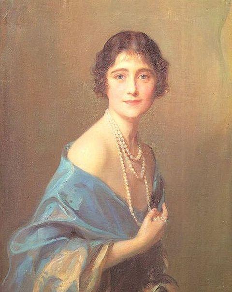 Portrait of Elizabeth Bowes-Lyon, the Duchess of York, executed by Philip Alexius de Laszio in 1925