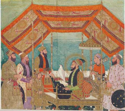 Emperor Aurangzeb holding court seated on a golden throne.Shaista Khan stands behind prince Muhammad Azam. The Emperor is holding a hawk with his right hand.