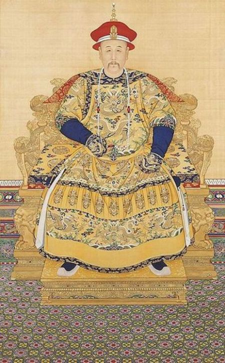Emperor Yongzheng seated on his throne with ceremonial court dress including an identical Chaozhu.