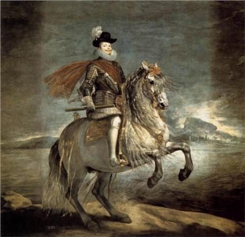 Equestrian portrait of Philip III, circa 1635, by Diego Velazquez, depicting him wearing the La Peregrina as a hat ornament