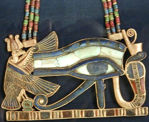 Eye of Horus (Wedjat) Pendant ,with a Falcon on the left and Serpent on the right.