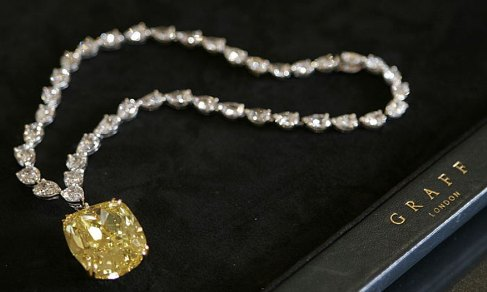 Fancy vivid yellow Dream Diamond set as pendant to a diamond necklace