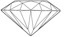The figures above and below illustrate the diamond proportions and facets of a round brilliant cut.