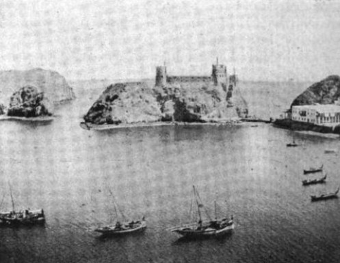 Photograph of Muscat Harbour, taken in 1903- Fort Al-Jalali is in the background.