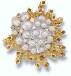 Freshwater Pearl and Diamond Brooch by John Donald