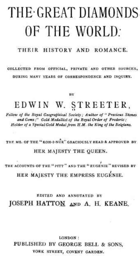 Front Page of Edwin Streeter's Book, The Great Diamonds Of The World - Their History and Romance