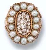 George III Seed Pearl and Diamond Ring