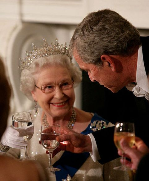 President George W. Bush toasts Her Majesty Queen Elizabeth II, during a State Dinner in her honor at the White House