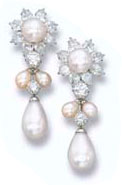 Pearl and Diamond Pendant Earrings of the Gulf Pearl Parure