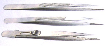 Some tweezers used in the gem industry