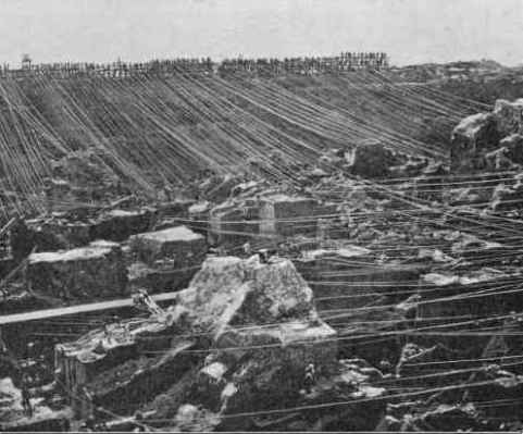 September 1873 photograph of the interior of Kimberley mine showing tramway cables
