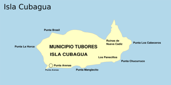 Island of Cubagua indicating the location of the ruins of the early 16th-century city of New Cadiz