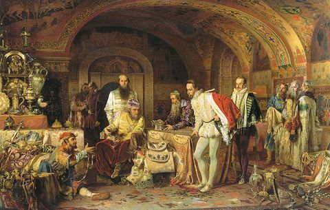 Ivan IV demonstrates his treasurers to the ambassador of Queen Elizabeth I of England, Jerome Horsey