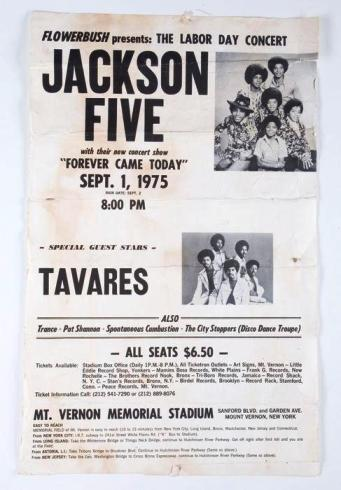 Lot No: 319: Jackson 5 early concert poster 1975
