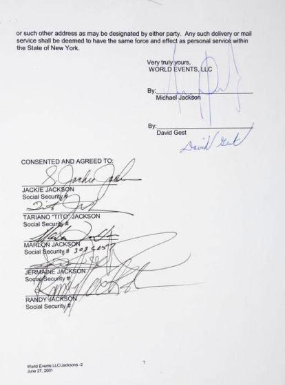Lot No.331: Jackson contract signature page