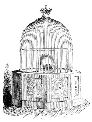 The Koh-i-Noor diamond in the display cage at the exhibtion, 1851