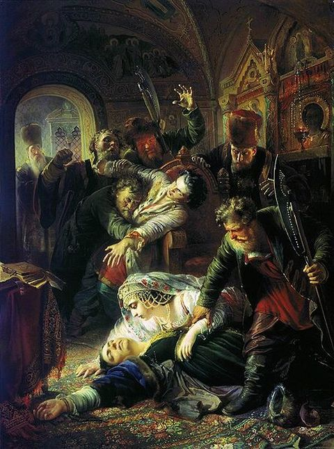 Konstantin Makovsky's 1862-painting of the murder of Feodor Godunov and his mother Maria Grigorievna Skuratova-Belskaya by the agents of False Dmitry