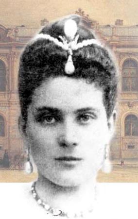 Princess Zinaida Yusupov wearing the La Pelegrina Pearl as a head ornament surmounted by the La Regente