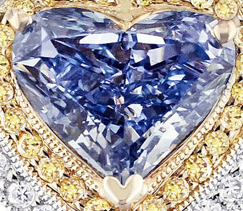 2.28-carat, fancy vivid blue, internally flawless, heart-shaped Lady Diantha Diamond