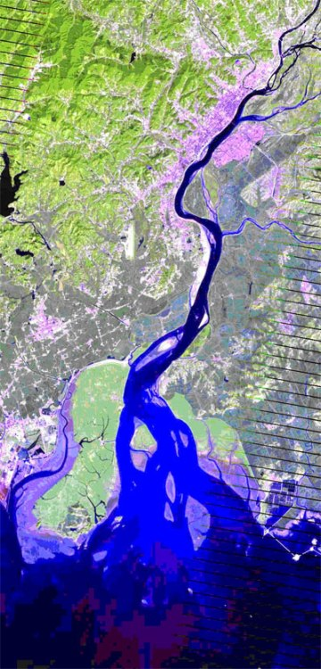 Landsat Satellite Image of Yalu river and Korea Bay