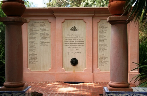 Madame Ganna Walska Plaque at the entrance to lotus land.