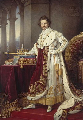 Ludwig I (Louis I) of Bavaria standing beside the Bavarian Crown mounted with the original Wittelsbach diamond.