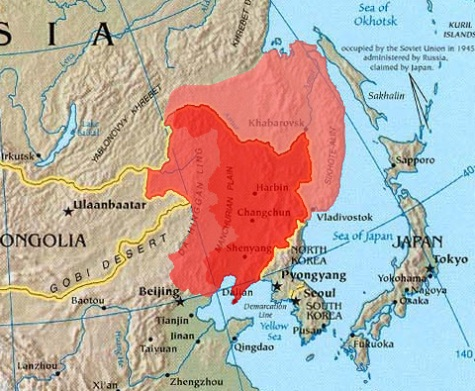 Outer Manchuria (light red) and Inner Manchuria (dark red & medium red)