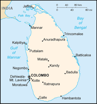 Map of Sri Lanka (Ceylon)