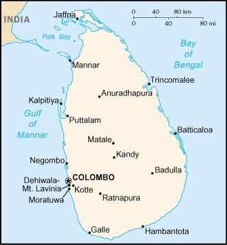 Map of Sri Lanka (Ceylon)