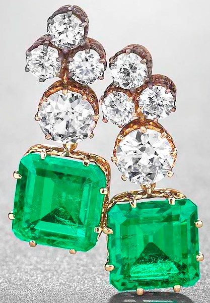 Matching pair of emerald and diamond earrings created by Van Cleef &Arpels from the original Simon Patino emerald and diamond necklace