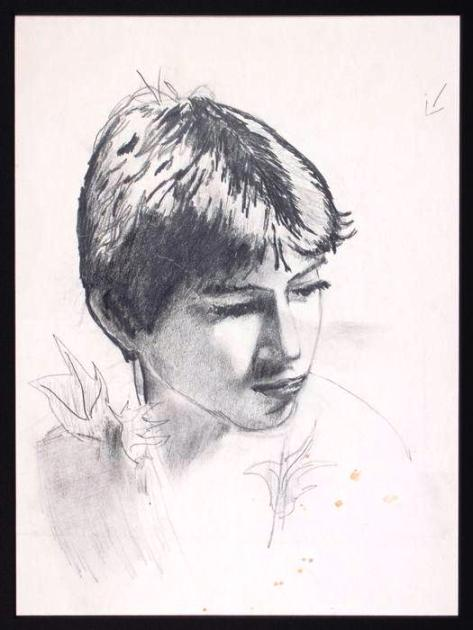 Lot No. 334: Michael Jackson original drawing of a boy in the style of Peter Pan