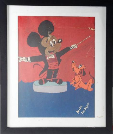 Lot No.335: Michael Jackson Original Painting of Mickey Mouse