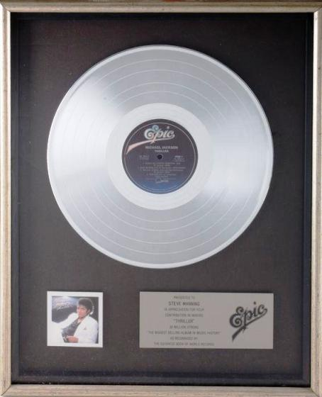 Lot No. 325: Michael Jackson RIAA Record Award