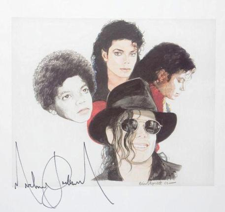 Lot No. 326: Michael Jackson Signed Art Print