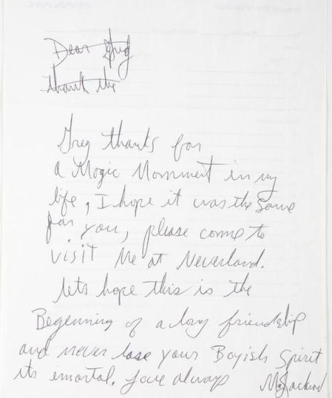 Lot No. 324: Michael Jacksons hand written letter