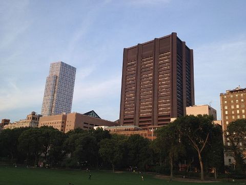 Mount Sinai School of Medicine as seen from the Central Park, New York
