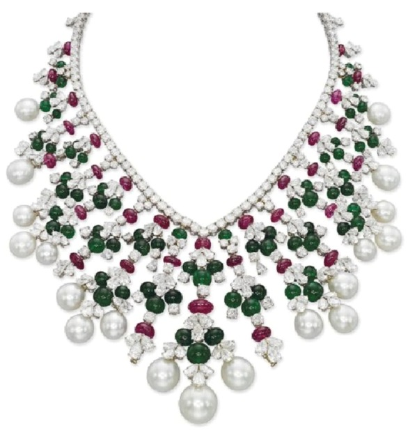 Diamond, Emerald, Ruby and Cultured Pearl Fringe Necklace