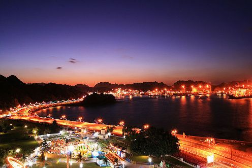 Muttrah Corniche in Muscat Oman at night.