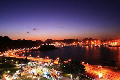 Muttrah Corniche in Muscat Oman at night.