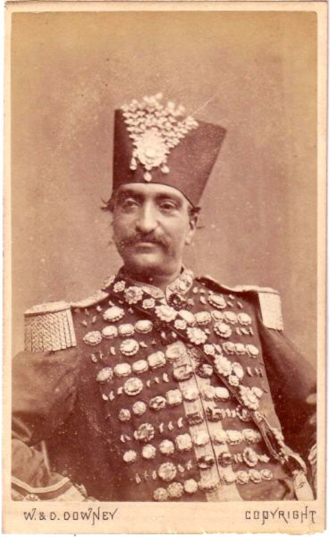 Nasser al-Din Shah - Shah of Iran from 1848-1896, wearing a uniform studded with diamonds from the Iranian treasury