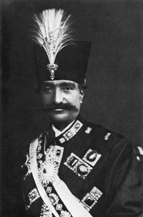 Nasser al-Din Shah - wearing some of the famous diamonds in the Iranian treasury as brooches, one of which is the rectangular table-cut Darya-i-Nur