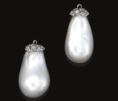 Natural Pearl and Diamond Pendants from the collection of a European Noble Family